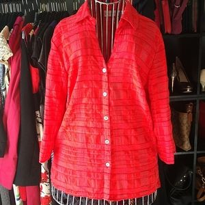 Button Front Red Blouse